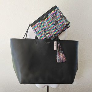 NWT VS black tote with sequin mini bag